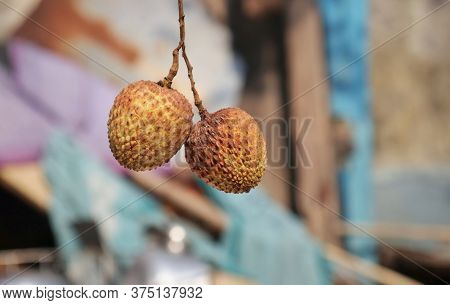 Hanging Litchi Or Lychee Fruit With Selective Focus And Copy Space