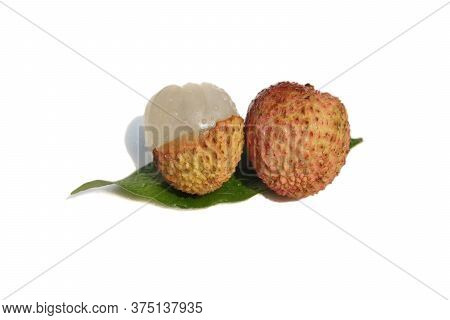 Litchi Or Lychee Fruit With Water Drops Isolated On White Background