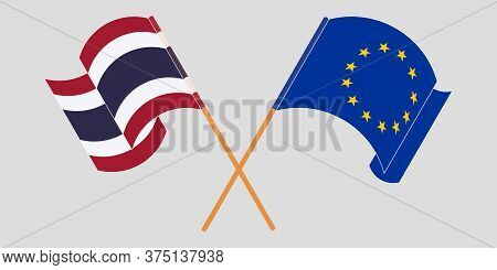 Crossed And Waving Flags Of Thailand And Eu. Vector Illustration