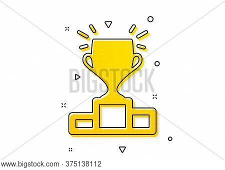Sports Trophy Symbol. Winner Podium Icon. Championship Achievement Sign. Yellow Circles Pattern. Cla