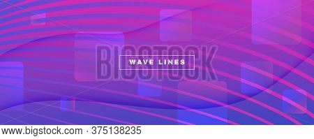 Blue Fluid Stripes. Digital Liquid. 3d Dynamic Wallpaper. Vibrant Vector Poster. Fluid Stripes. Flow