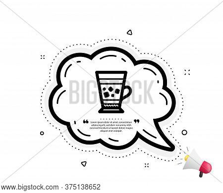 Frappe Coffee Icon. Quote Speech Bubble. Cold Drink Sign. Beverage Symbol. Quotation Marks. Classic