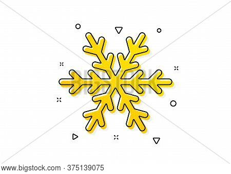 Snowflake Sign. Air Conditioning Icon. Hotel Service Symbol. Yellow Circles Pattern. Classic Air Con