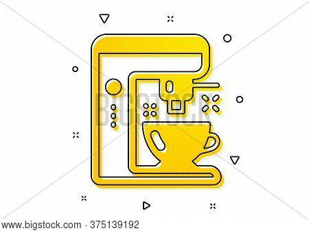 Tea Machine Sign. Coffee Maker Icon. Hotel Service Symbol. Yellow Circles Pattern. Classic Coffee Ma