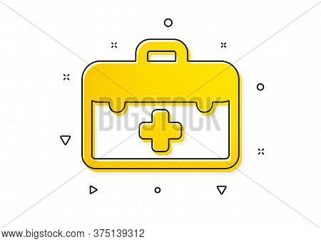 Medicical Kit Sign. First Aid Icon. Pharmacy Medication Symbol. Yellow Circles Pattern. Classic Firs
