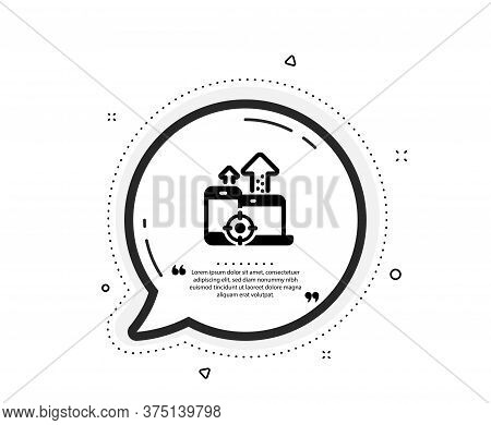 Seo Devices Icon. Quote Speech Bubble. Web Targeting Sign. Traffic Management Symbol. Quotation Mark