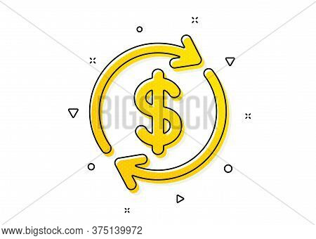 Money Transfer Sign. Currency Exchange Icon. Dollar In Rotation Arrow Symbol. Yellow Circles Pattern