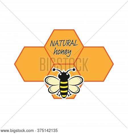 Honeybee. Simple Vector Icon For Logo, Sticker, Label And Theme Design Isolated On White Background