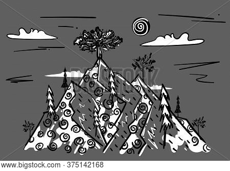 Line Art Landscape With Mountains And Trees With Texture. Black Sketch On Gray Background. Hand Draw