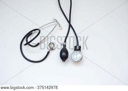 A New Stethoscope, Close View, White Background.