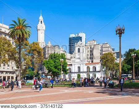 Buenos Aires, Argentina - April 14, 2016: The Plaza De Mayo Is The Oldest National Monument In Bueno