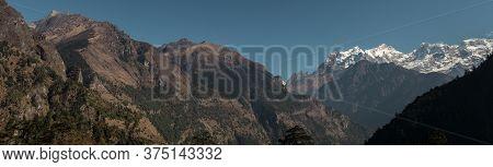 Panorama Of Nepalese Mountain Ranges Along Annapurna Circuit, Himalaya, Nepal, Asia
