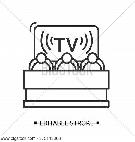 Political News Icon. Politicians On Tv Broadcast Screen Background Linear Pictogram. Media Influence