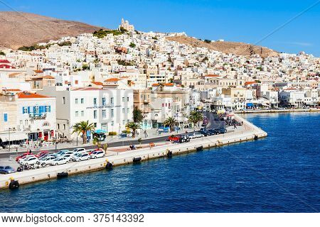 Syros Island, Greece - October 21, 2016: Ermoupoli And Ano Syros Cities On The Syros Island. Syros O