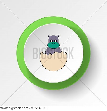 Cartoon Hatchling Egg Toy Colored Button Icon. Signs And Symbols Can Be Used For Web, Logo, Mobile A
