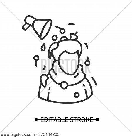 Media Pressure Icon. Megaphone And Person Simple Linear Pictogram. Concept Of Political Propaganda,