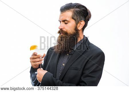 Barman With Beard, Stylish Hair And Concentrated Face, Isolated