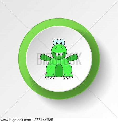 Cartoon Dinosaur Toy Colored Button Icon. Signs And Symbols Can Be Used For Web, Logo, Mobile App, U