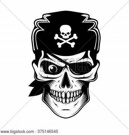 Skull Evil Pirate. Pirate Tattoo. Captain Logo. Pirate Eye. Buccaneer Hat. Vintage Sailor Character.
