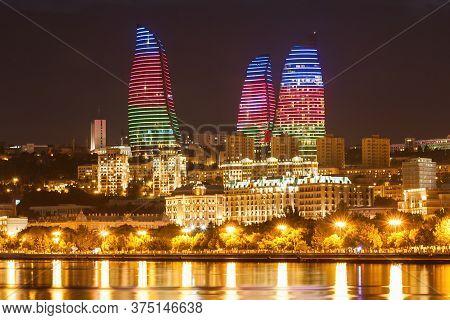 Baku, Azerbaijan - September 15, 2016: Baku Flame Towers At Night. It Is The Tallest Skyscraper In B