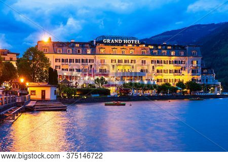 Zell Am See, Austria - May 20, 2017: The Grand Hotel Zell Am See Is Situated In Zell Am See Old Town