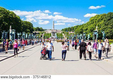 Oslo, Norway - July 20, 2017: Vigeland Sculpture Park Or Vigelandpark In Oslo, Norway. Vigeland Is L