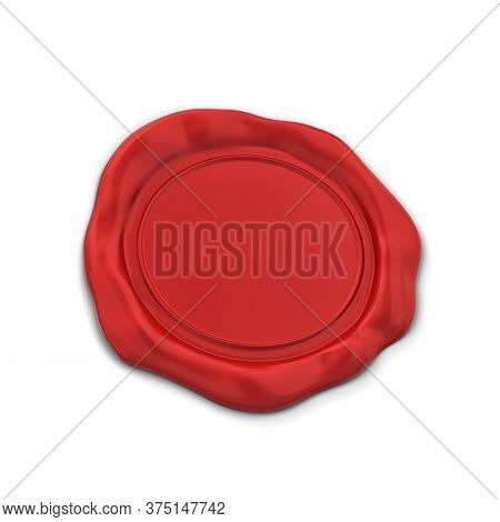 Blank Wax Seal. 3d Illustration Isolated On White Background