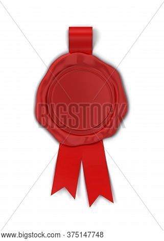 Blank Wax Seal With Ribbon. 3d Illustration Isolated On White Background