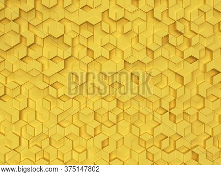 Hexagons Made Of Rhombuses. 3d Background For Design