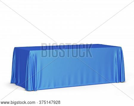 Tradeshow Tablecloth Mockup. 3d Illustration Isolated On White Background