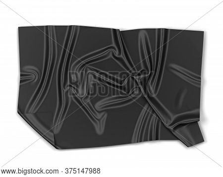 Piece Of Cloth: Banner Or Towel Mockup. 3d Illustration Isolated On White Background