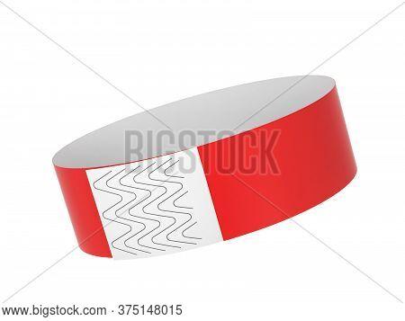 Blank Paper Event Bracelet. 3d Illustration Isolated On White Background