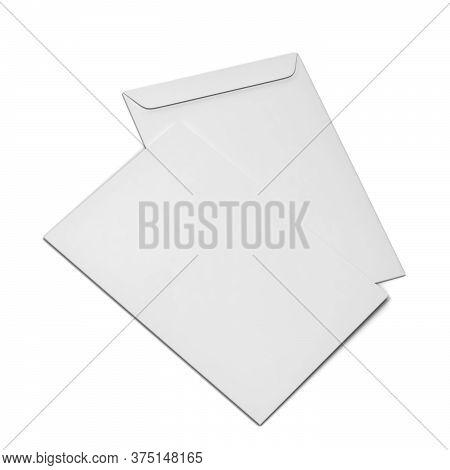 Blank Paper C4 Envelope. 3d Illustration Isolated On White Background
