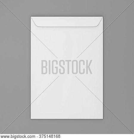 Blank Paper C4 Envelope. 3d Illustration On Gray Background