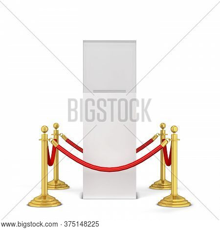 Stanchions And A Podium. 3d Illustration Isolated On White Background