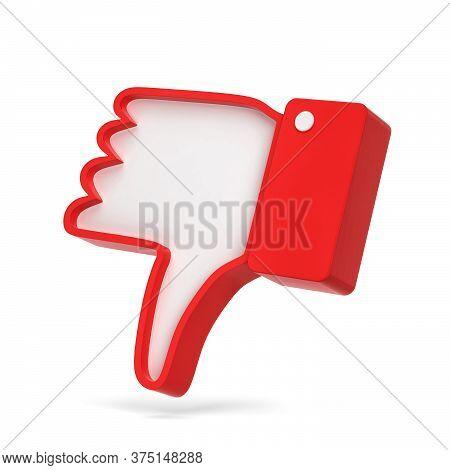 Dislike Thumb Down Social Network Symbol. 3d Illustration Isolated On White Background