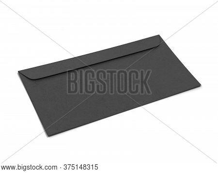 Blank Paper Envelope Mockup. 3d Illustration Isolated On White Background