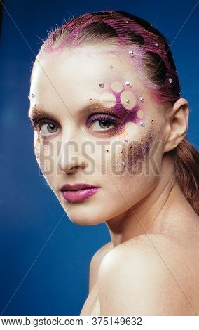Beauty Young Woman With Creative Make Up, Mystery Tinsel