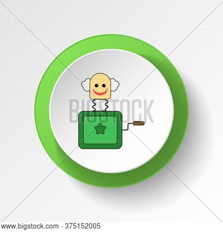 Cartoon Box In Jack Toy Colored Button Icon. Signs And Symbols Can Be Used For Web, Logo, Mobile App