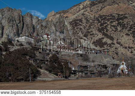 Buddhist Monastery In The Nepalese Mountains, Trekking Along Annapurna Circuit