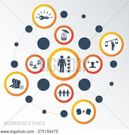 Vector Infographic Template Business Ethics Data Visualization. Different Colors. Can Be Used For Pr