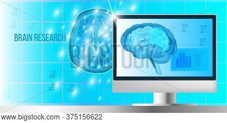 Brain Research Concept With Neurons, Triangles, Polygons, Lines, Computer Screen And Dots In Blue Co