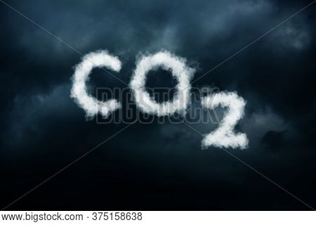 Co2 Written In The Dark Sky, Co2 Pollution, Smog Is Bad