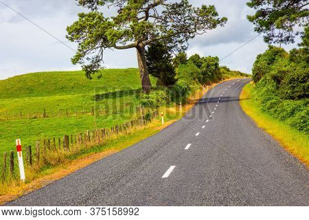 Fabulous faraway country. Road among the green fields of the North Island of New Zealand. Way to Rotorua. The concept of exotic, ecological and photo tourism. Car tourism concept