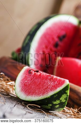 Chunks Of Of Watermelon, Rustic Style, Old Wooden Background, Selective Focus