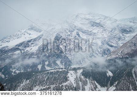 Snowy Himalayan Mountains By Ledar Village, Trekking Annapurna Circuit, Nepal, Asia