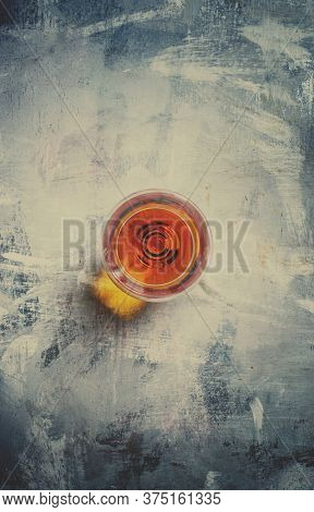 Brandy In A Glass, Toned Image, Top View And Toned Image