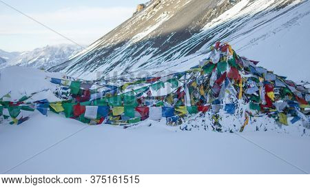 Thorung La Pass Summit Covered In Heavy Snow, December 2019, Himalaya, Nepal, Asia