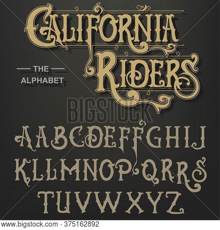 Gothic Font, Original Typeface, Handmade Medieval Script, Capital Calligraphic Letters. Vector
