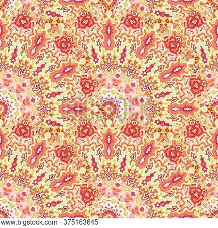 Peacock Geometric Seamless Pattern. Islamic Folk Vector Graphic Design. Weave Modern Fractal Flower
